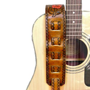 Leather Hibiscus Flower Guitar Strap Back