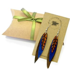 Tooled Feather Earrings with Gift Box