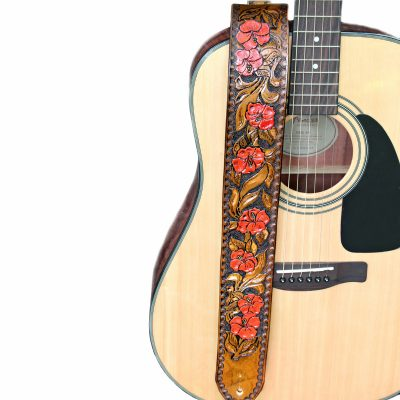 Red Orange Hibiscus Flower Guitar Strap