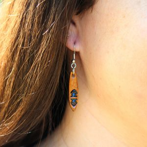 Blue Tooled Earrings