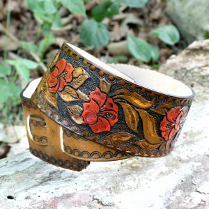 Floral Leather Guitar Strap