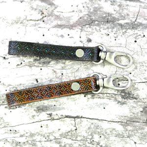 Turquoise Tooled Leather Key Fob
