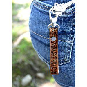 Turquoise Tan Tooled Leather Key Fob