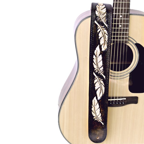Dark Brown Eagle Feather Two Tone Leather Guitar Strap