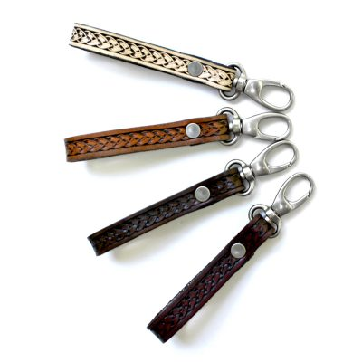 Basket Stamp Hand Tooled Leather Key Fob
