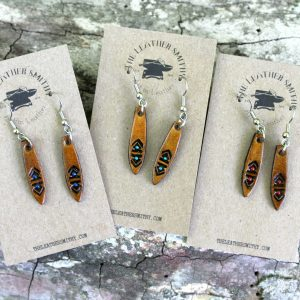 Tooled Leather Drop Earrings