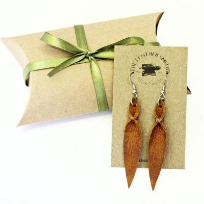 Long Leather Leaf Earrings