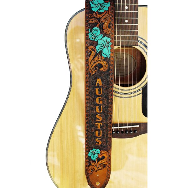 Personalized Lily Flower Leather Guitar Strap