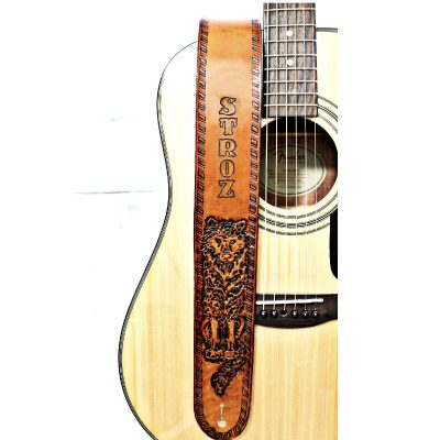 Personalized Wolf Leather Guitar Strap