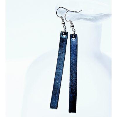 Blue Long Leather Bar Drop Earrings