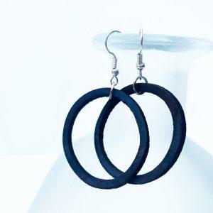 Blue Leather Hoop Earrings