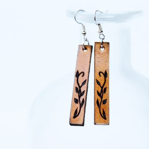 Engraved Drop Leather Earrings