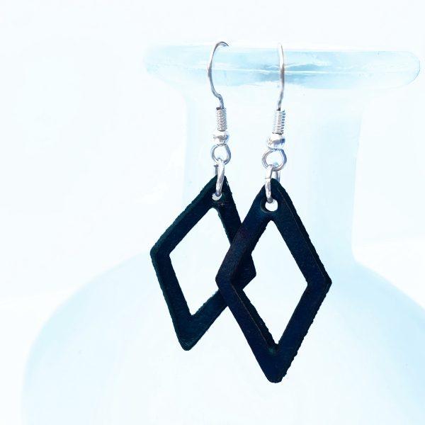 Blue Diamond Leather Earrings