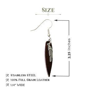 Boho Feather Leather Earrings
