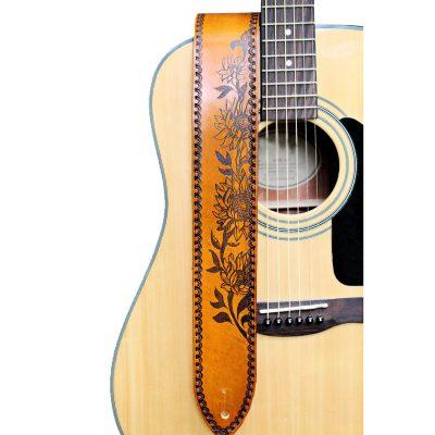 Engraved Sunflower Guitar Strap