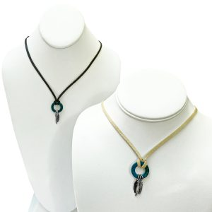 Leather Feather Charm Necklace