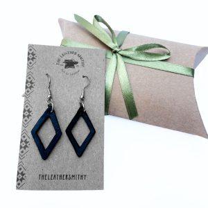 Navy Diamond Earrings with Gift Box