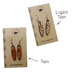 Engraved Feather Drop Earrings Color Options