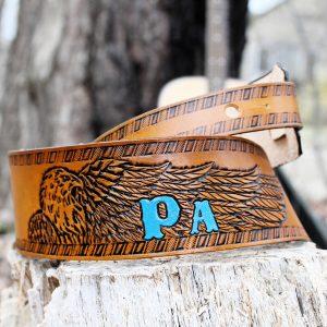 Bald Eagle Leather Guitar Strap