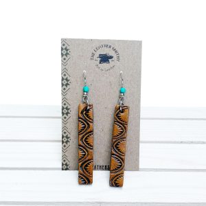 Hand Tooled Western Leather Bar Earrings