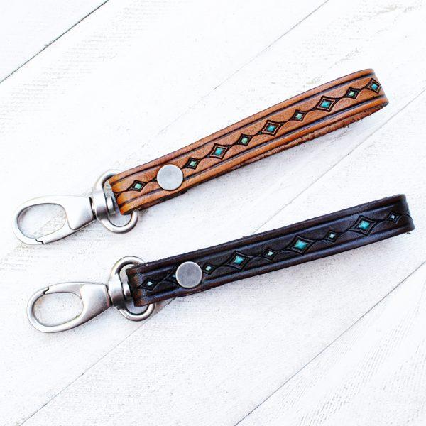 Double Diamond Hand Tooled Leather Key Fob